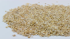 Pearl barley close up on the white Stock Footage