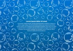 Many soap bubbles on blue with text, abstract background A4 size - stock illustration