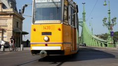 Day traffic at Liberty Bridge in Budapest Stock Footage