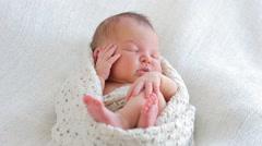 Portrait sleeping newborn baby Stock Footage
