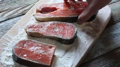 Pieces of salmon Stock Footage
