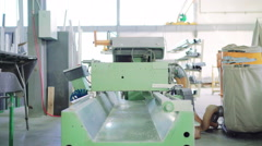 Machine for the production of PVC windows on factory. 4K Stock Footage