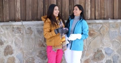 Attractive young women in stylish winter fashion Stock Footage