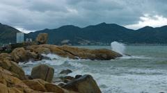 Sea Water Splashes over Hon Chong Rocks in Nha Trang, Vietnam Stock Footage