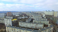 low flight over apartment buildings in Kiev - stock footage