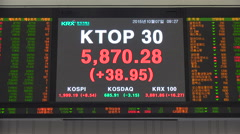 Major Korean indices, live ticker board, Kosdaq, Kospi, KRX, stock exchange Stock Footage