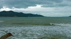 Cloudy Sky over Hon Chong Rocks in Nha Trang, Vietnam. Video 4k Stock Footage