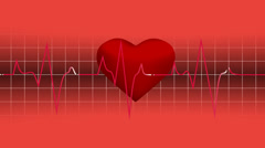 Animated loop able heart beat graphic red graph background Stock Footage