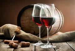 Composition with wine - stock photo