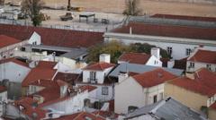 House orange rooftops, pan left, Lisbon, Portugal Stock Footage