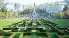 Eduardo VII Park, sunny day, Marquis of Pombal Square, Lisbon, Portugal Stock Footage