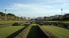 Eduardo VII Park, Marquis of Pombal Square, long shot, Lisbon, Portugal Stock Footage