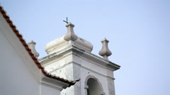 White church cross building, Lisbon, Portugal Stock Footage