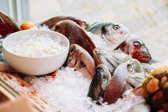 Fish on ice on market store shop. Dorado fish on ice - healthy f - stock photo