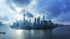 4K: Aerial view of China Shanghai, Pudong Skyline and Huangpu River at Sunrise. - stock footage