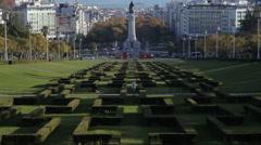 Traffic Marquis of Pombal Square, Eduardo VII Park, tilt up, Lisbon, Portugal Stock Footage