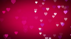 Animated many moving small pink purple white hearts Stock Footage