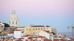 Church of Santa Engrácia, Colorful buildings, pan right, Lisbon, Portugal Stock Footage