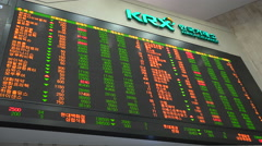 Live values of share prices at electronic ticker board, Korean stock Exchange Stock Footage