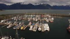 Harbor Reveal Haines AK Evening Light Aerial 4K Stock Footage