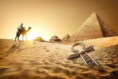 Pyramids and ankh Stock Photos