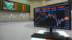 Former trading room of the Korea Exchange, financial data on computer screen Stock Footage