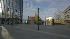 View of the bottom of Cibona Tower and statue of Drazen Petrovic, Zagreb Stock Footage
