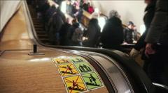 Escalator In Subway Stock Footage