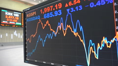 Graph on computer screen in former trading room Korea Exchange Stock Footage