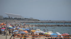 Overcrowded Spanish Summer Beach Stock Footage