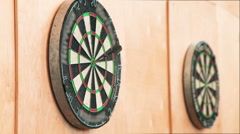 The Dart Board With Darts Stuck Stock Footage