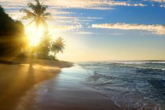 Bright sun and ocean - stock photo