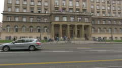View of a beautiful old building on a crowded street, Zagreb, Croatia - stock footage