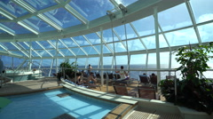 Indoor swimming pools on the cruise ship - Anthem of the seas. Stock Footage