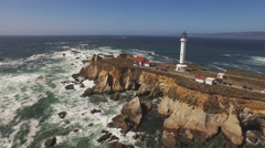 Point Arena Lighthouse Aerial Closer 4K Stock Footage