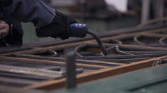 Welder At Work In The Welding Workshop Stock Footage