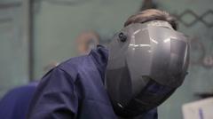 Welder At Work In The Welding Workshop  Stock Footage