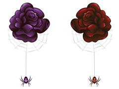 Rose and Spider - stock illustration