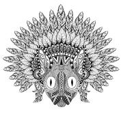 Hand Drawn Cat in Feathered War bonnet in zentangle style, high Stock Illustration