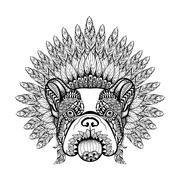 Hand Drawn French Bulldog in Feathered War bonnet in zentangle s Stock Illustration