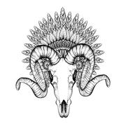 Hand Drawn Goat Skull in zentangle Feathered War bonnet, high da - stock illustration
