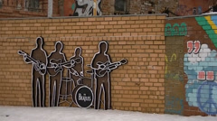 Wall The Beatles in Yekaterinburg Stock Footage