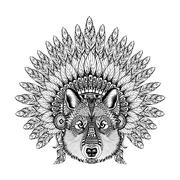 Hand Drawn Zentangle Wolf in Feathered War bonnet, high datailed Stock Illustration