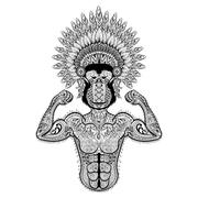 Zentangle stylized strong Monkey like Bodybuilder with war bonne Stock Illustration