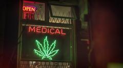 Medical Marijuana Storefront Neon Sign Stock Photos