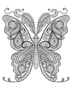 Hand drawn magic butterfly  for adult anti stress Coloring Page Stock Illustration