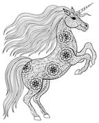 Hand drawn magic Unicorn for adult anti stress Coloring Page wit Stock Illustration