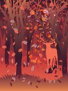 Stag in Autumn Forest - stock illustration