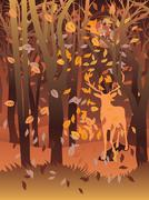 Stag in Autumn Forest Stock Illustration