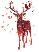 Stag Silhouette with Forest - stock illustration